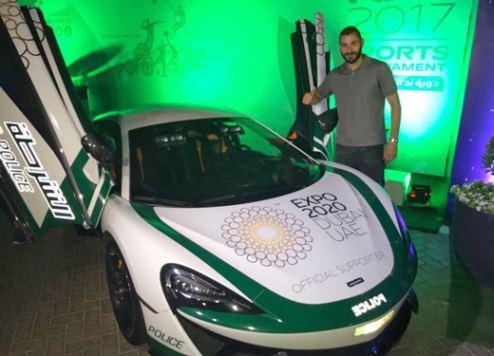 نجم ريال مدريد يتجول في دبي بسيارة شرطة فاخرة