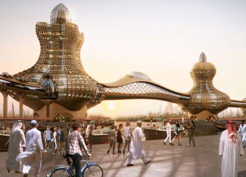 An artist's impression of Aladdin City