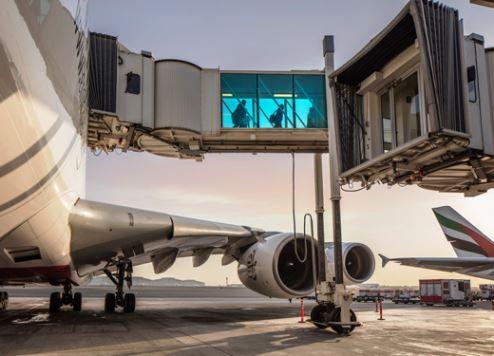 Passengers depart an Emirates A380 in Dubai.