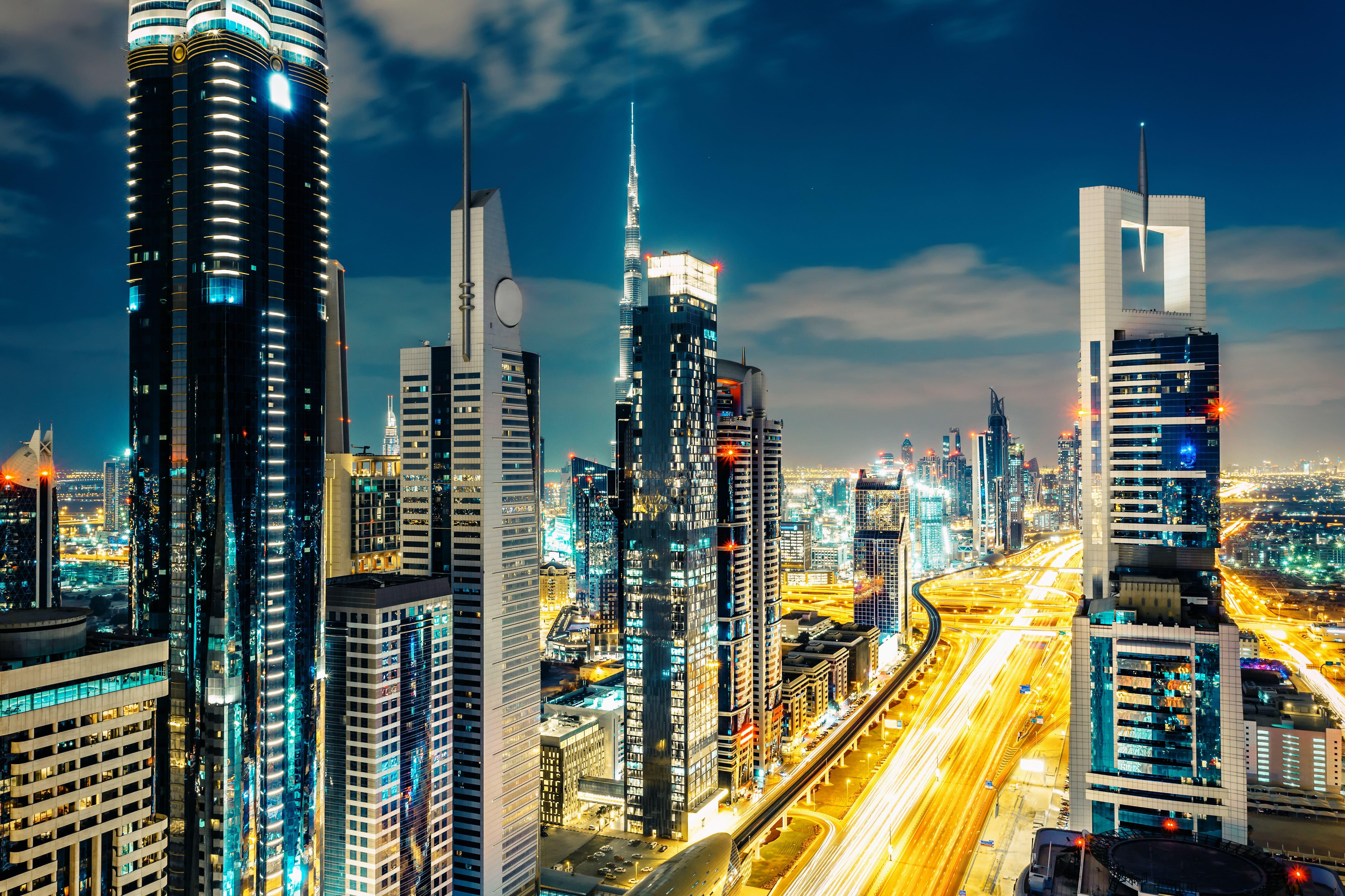 Downtown Dubai at night time