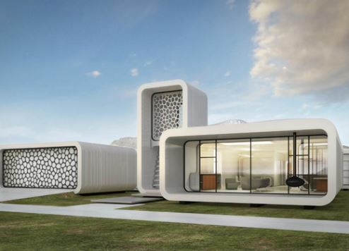 A 3D-printed building
