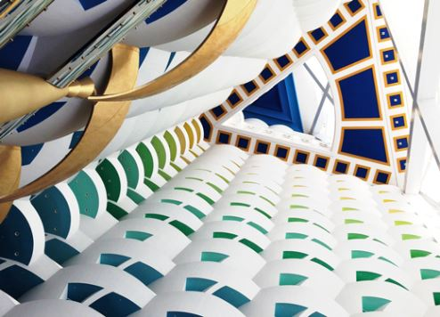 The interior atrium of the seven-star Burj Al Arab