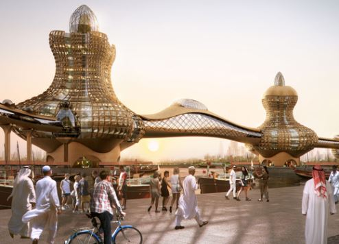 An artist's impression of Aladdin City