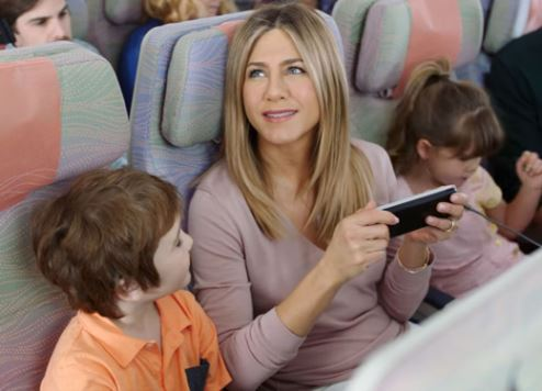 A still from the Emirates advertisement featuring Jennifer Aniston