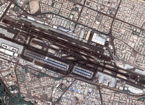 Dubai International Airport as seen from space