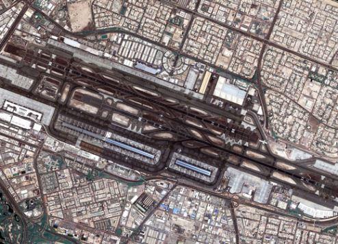 Dubai International Airport as seen from space