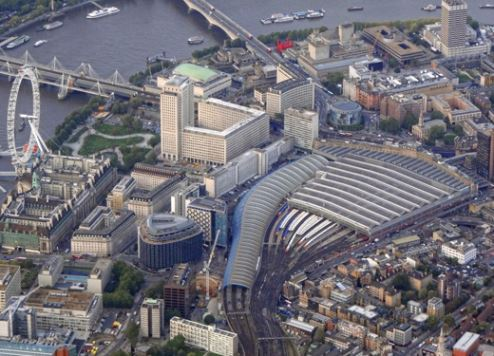 Waterloo Station pictured from above