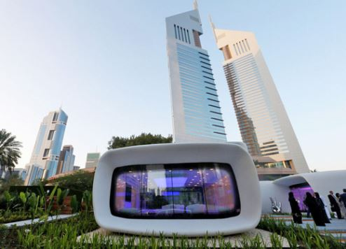 The 3D-printed building is located at Dubai's Emirates Towers