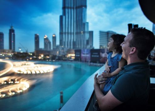 Family by Dubai Fountain