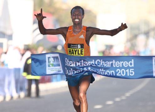 Lemi Berhanu Hayle wins the 2015 Dubai Marathon.