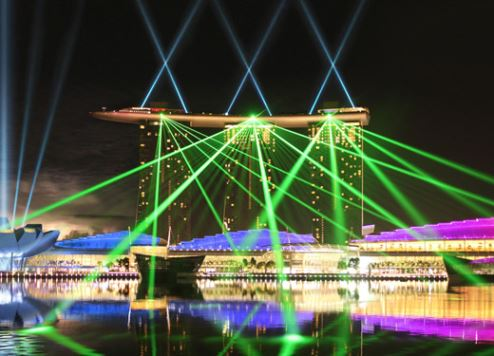 Hong Kong's 'A Symphony of Lights', located at the Marina Bay Sands