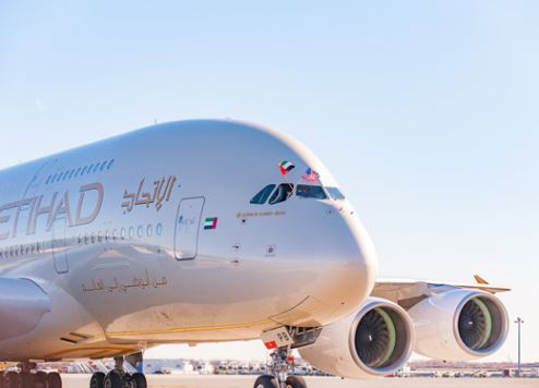 Etihad Airways' first A380 flight lands at New York JFK Airport