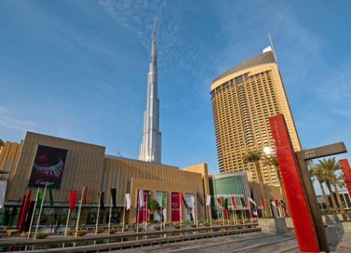 An exterior view of Dubai Mall.