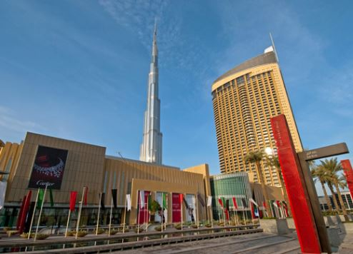 An exterior view of Dubai Mall.