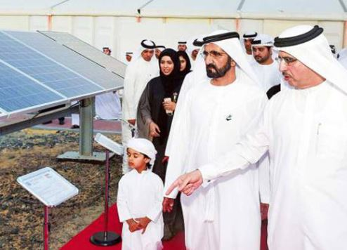 Sheikh Mohammed bin Rashid Al Maktoum pictured at the Dubai Solar Park