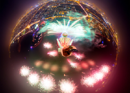 Fisheye view of fireworks atop Burj Al Arab